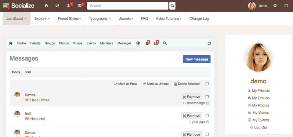 Inbox, brown theme