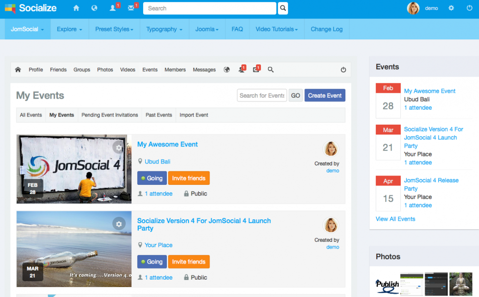 Events page, light blue theme