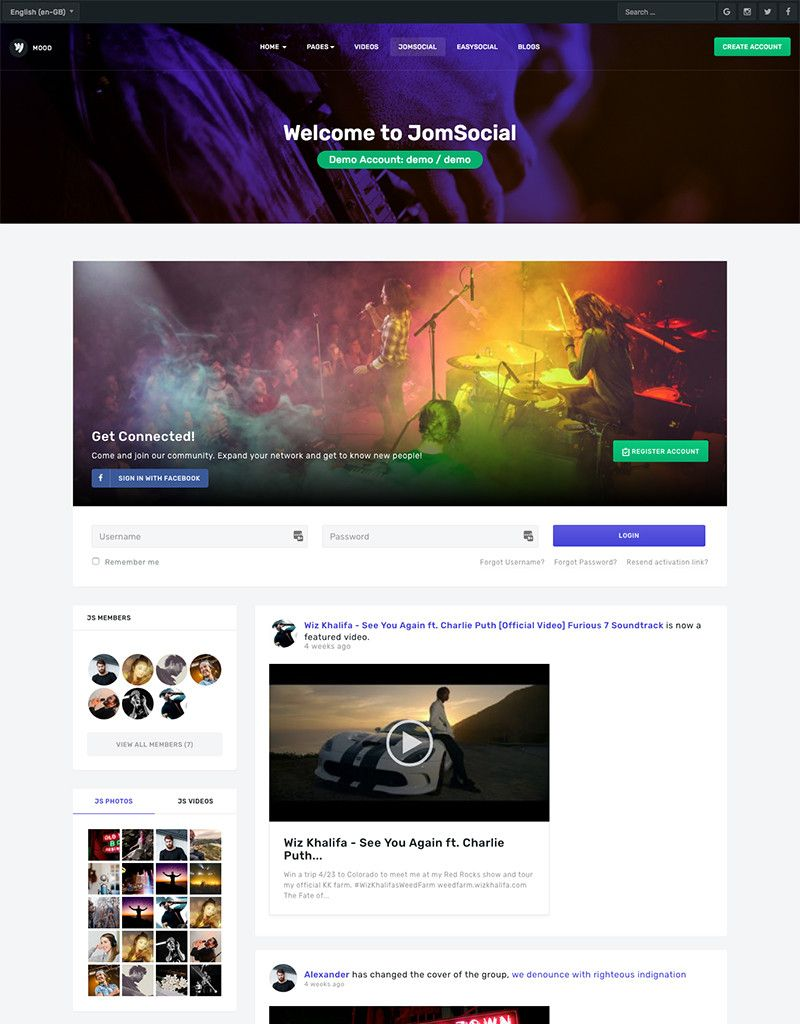 JA MoodJA Mood is Stunning music, community and social Joomla template designed by JoomlArt. The Joomla template fully supports JomSocial component with creative design. All JomSocial page style is customized to fit the template design.
